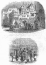LANDSCAPES: Water-carriers; Plug in frost, old print, 1845